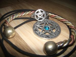 A selection of jewellery used in the rituals of Wicca.