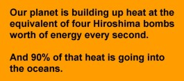 The planet is building up heat at the equivalent of four Hiroshima bombs worth of energy every second. And 90% of that heat is going into the oceans.